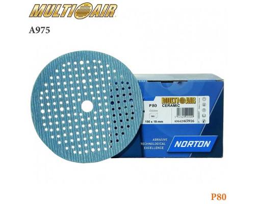 Круг абразивный P080 150мм 180 отверстий MULTI-AIR PLUS А975 NORTON