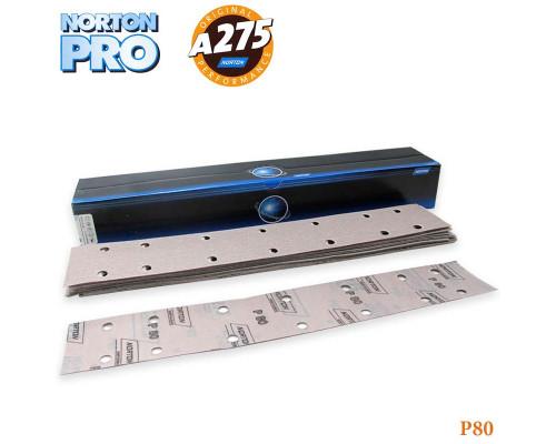 Полоска абразивная P080 70х420мм 14 отверстий PRO A275 NORTON