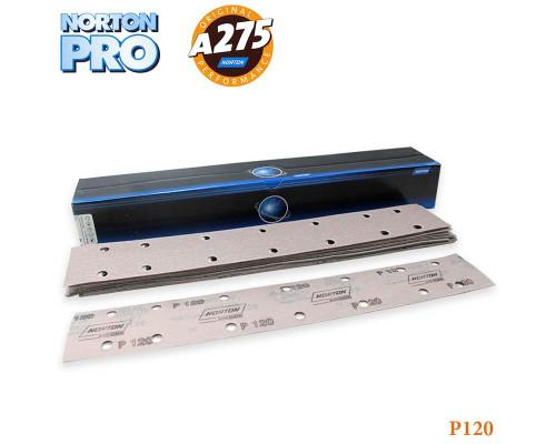 Полоска абразивная P120 70х420мм 14 отверстий PRO A275 NORTON