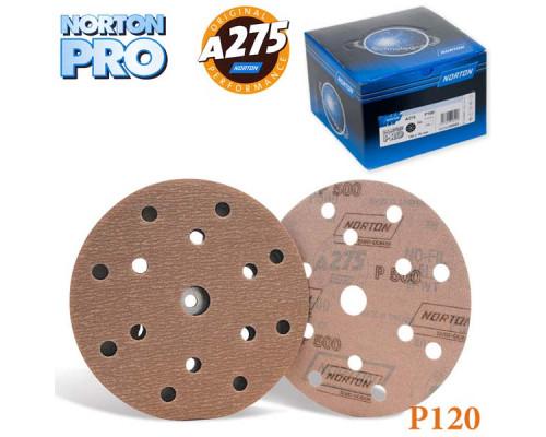 Круг абразивный P120 150мм 15 отверстий PRO A275 NORTON