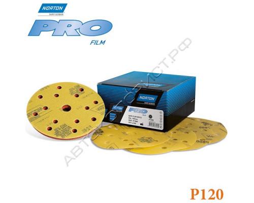 Круг абразивный P120 150мм 15 отверстий PRO FILM Q275 NORTON