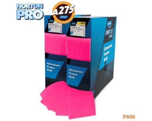 Лист абразивный на поролоне P 600 115х140мм фуксия PRO NORTON