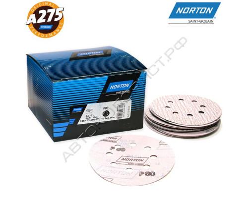 Круг абразивный P080 125мм 8 отверстий A275 NORTON