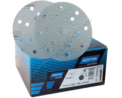 Круг абразивный P080 150мм 15 отверстий PRO PLUS A975 NORTON